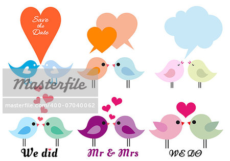 cute love birds with hearts, vector design elements Stock Photo - Budget Royalty-Free, Image code: 400-07040062