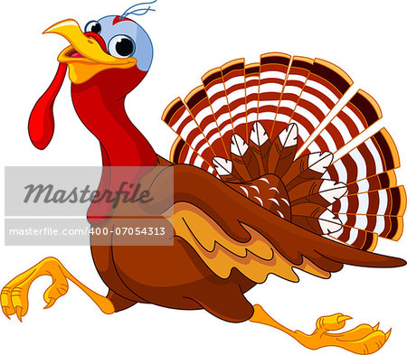 Cartoon turkey running, isolated on white background Stock Photo - Budget Royalty-Free, Image code: 400-07054313