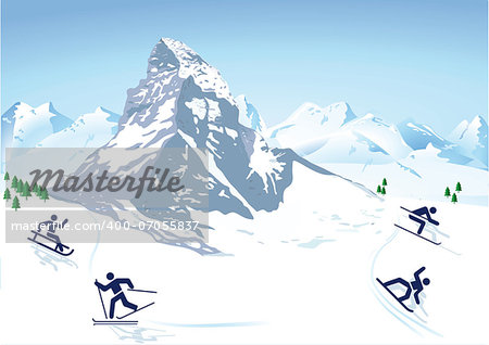 winter sports in the mountains Stock Photo - Budget Royalty-Free, Image code: 400-07055837