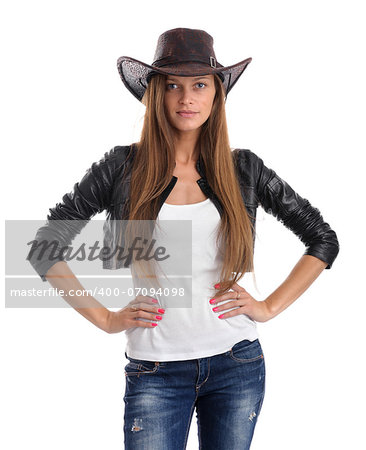 young woman in cowboy hat. Isolated on white background Stock Photo - Budget Royalty-Free, Image code: 400-07094098