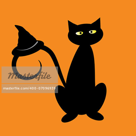 Black halloween cat with witch hat Stock Photo - Budget Royalty-Free, Image code: 400-07096939
