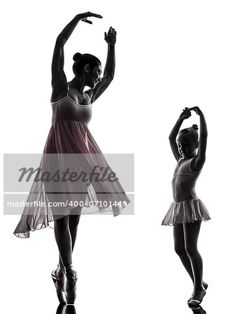 woman and  little girl   ballerina ballet dancer dancing in silhouette on white background Stock Photo - Budget Royalty-Free, Image code: 400-07101449