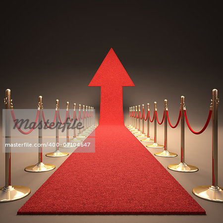 Red carpet arrow-shaped up. Your text next to the arrow. Stock Photo - Budget Royalty-Free, Image code: 400-07104647