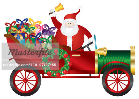 Santa Claus Ringing Bell in Vintage Car Delivering Wrapped Presents Isolated on White Background Illustration Stock Photo - Budget Royalty-Free, Image code: 400-07107455