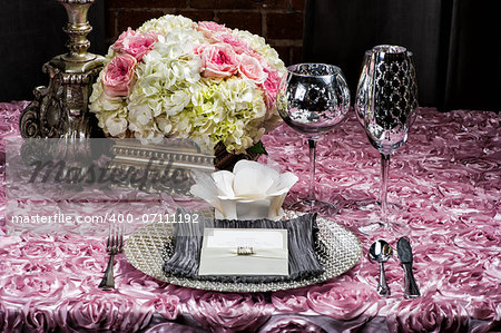 Image of a place setting at a wedding on pink Stock Photo - Budget Royalty-Free, Image code: 400-07111192