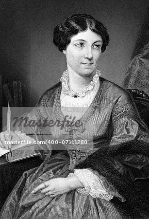 "Harriet Martineau (1802-1876) on engraving from 1873. English social theorist and Whig writer. Engraved after a painting by A.Chappel and published in ""The Masterpiece Library of Short Stories'',USA,1873. Stock Photo - Budget Royalty-Free, Image code: 400-07111280"