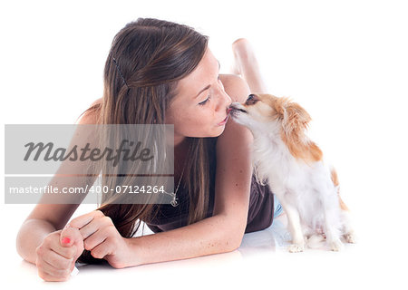 young girl and chihuahua in front of white background Stock Photo - Budget Royalty-Free, Image code: 400-07124264