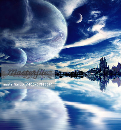 Collage - landscape in fantasy planet Stock Photo - Budget Royalty-Free, Image code: 400-07125694