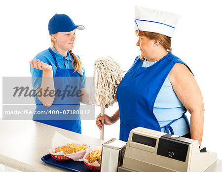 Adult woman working at a fast food job has to take orders from a teenage boss.  Isolated on white. Stock Photo - Budget Royalty-Free, Image code: 400-07180012