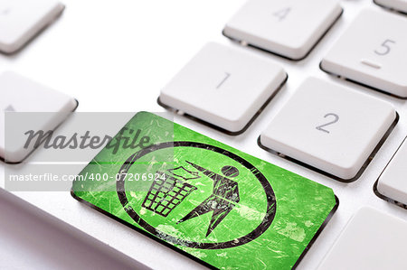 Green trash button on white keyboard Stock Photo - Budget Royalty-Free, Image code: 400-07206924