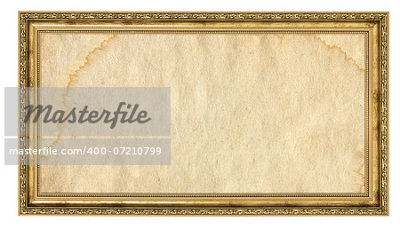 gold frame with empty stained background isolated on white Stock Photo - Budget Royalty-Free, Image code: 400-07210799