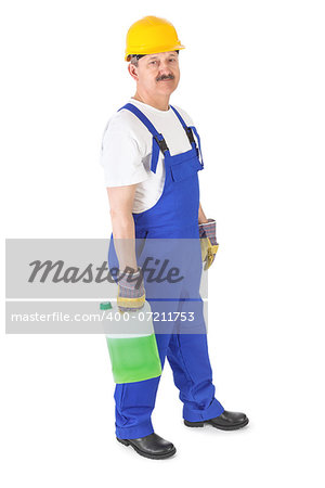manual worker with washer fluid over white background Stock Photo - Budget Royalty-Free, Image code: 400-07211753