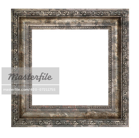 Ruined wooden frame with thick border isolated on white background Stock Photo - Budget Royalty-Free, Image code: 400-07211755