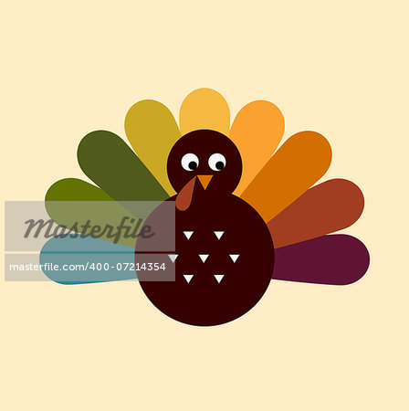 Colorful Thanksgiving Turkey. Vector cartoon Illustration Stock Photo - Budget Royalty-Free, Image code: 400-07214354