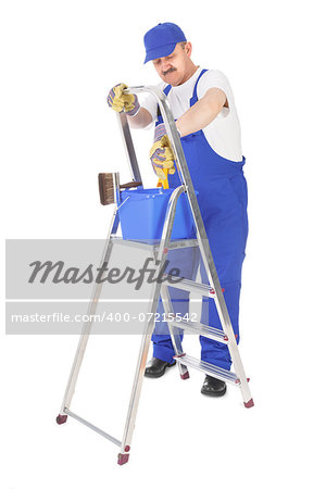 house painter and ladder over white background Stock Photo - Budget Royalty-Free, Image code: 400-07215542