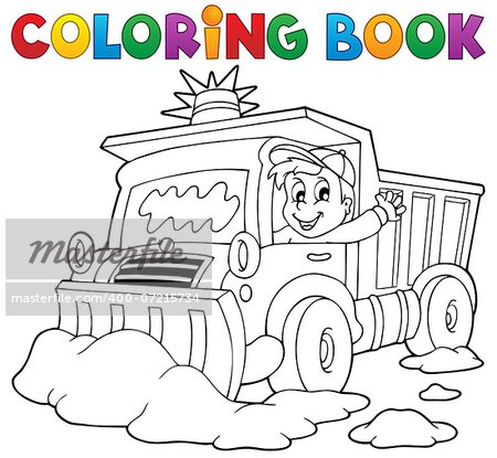Coloring book snow plough - eps10 vector illustration. Stock Photo - Budget Royalty-Free, Image code: 400-07215734