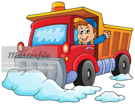 Snow plough theme image 1 - eps10 vector illustration. Stock Photo - Budget Royalty-Free, Image code: 400-07215753
