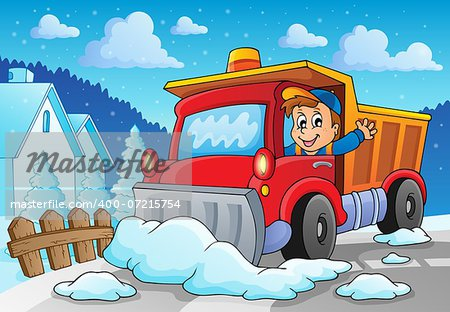 Snow plough theme image 2 - eps10 vector illustration. Stock Photo - Budget Royalty-Free, Image code: 400-07215754