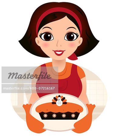Vintage cooking Woman. Vector Illustration Stock Photo - Budget Royalty-Free, Image code: 400-07216167