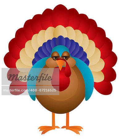 Colorful Turkey Cute Cartoon For Thanksgiving Isolated on White Background Illustration Stock Photo - Budget Royalty-Free, Image code: 400-07216525