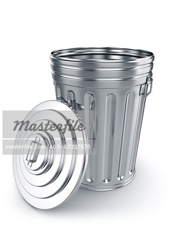 3d render of opened trash can isolated on white background Stock Photo - Budget Royalty-Free, Image code: 400-07217870