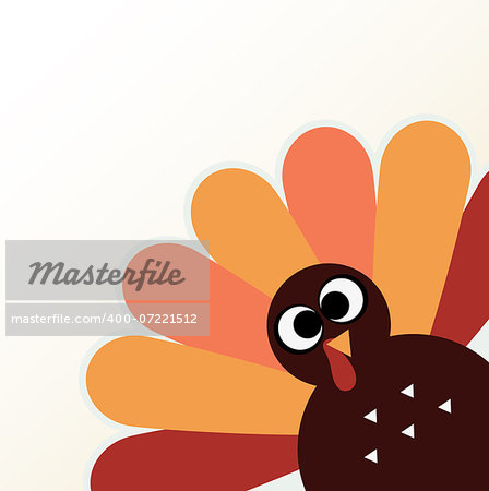 Happy Thanksgiving day with colorful funny Turkey. Vector Illustration Stock Photo - Budget Royalty-Free, Image code: 400-07221512