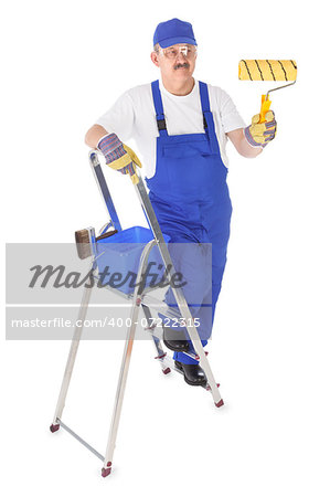 house painter on the ladder is painting invisible wall Stock Photo - Budget Royalty-Free, Image code: 400-07222315