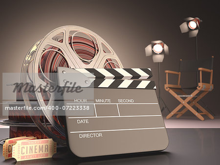 Clapboard concept of cinema. Stock Photo - Budget Royalty-Free, Image code: 400-07223338