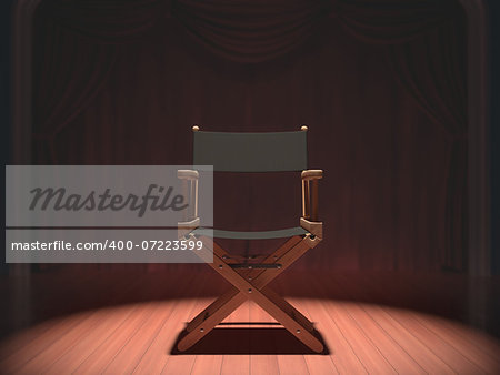 Director's chair on the stage illuminated by floodlights. Stock Photo - Budget Royalty-Free, Image code: 400-07223599