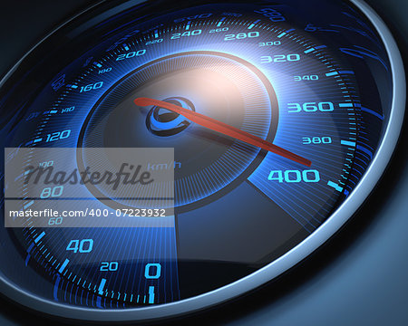 Speedometer scoring high speed. The limit of speed. Stock Photo - Budget Royalty-Free, Image code: 400-07223932