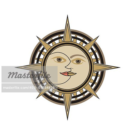 Sun and moon face traditional oriental india vector sign - day and night allegory isolated on white background. Stock Photo - Budget Royalty-Free, Image code: 400-07254819
