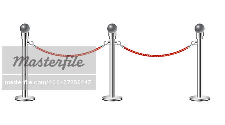 Stand rope barriers in silver design with red rope on white background Stock Photo - Budget Royalty-Free, Image code: 400-07256447