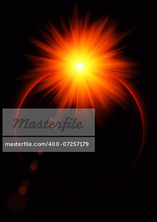 Illustration of the red sun coming out after the Eclipse Stock Photo - Budget Royalty-Free, Image code: 400-07257179