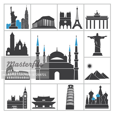 Landmark travel icons. Vector set for you design Stock Photo - Budget Royalty-Free, Image code: 400-07259721
