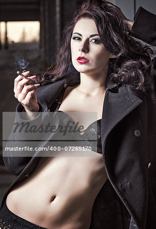Closeup portrait of sexy smoking vamp woman in black underwear and coat Stock Photo - Budget Royalty-Free, Image code: 400-07265170