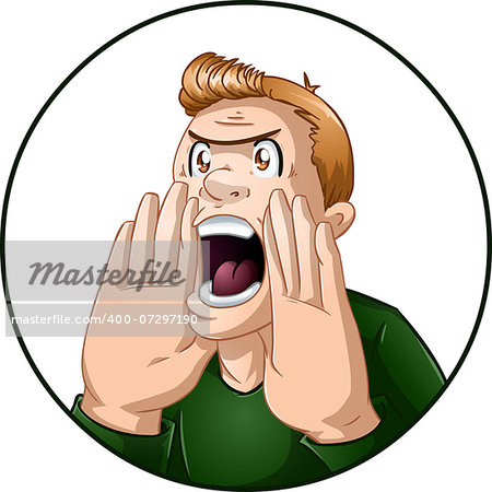 A vector illustration of an angry guy shouting. Stock Photo - Budget Royalty-Free, Image code: 400-07297190