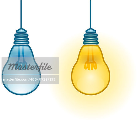 A vector illustration of two turned on and off light-bulbs. Stock Photo - Budget Royalty-Free, Image code: 400-07297193