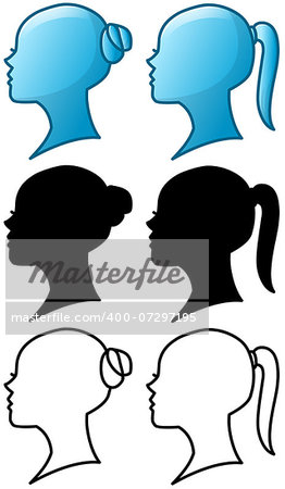 Vector illustrations of woman's head icons and silhouettes and line art pack. Stock Photo - Budget Royalty-Free, Image code: 400-07297195