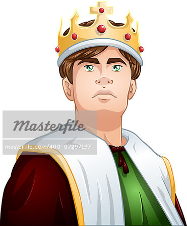 A vector illustration of a young king wearing a crown and cape. Stock Photo - Budget Royalty-Free, Image code: 400-07297197