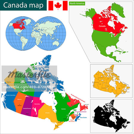 Colorful Canada map with provinces and capital cities Stock Photo - Budget Royalty-Free, Image code: 400-07297769