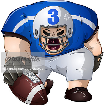A vector illustration of a football player in blue and white uniforms kneeling and holding a football. Stock Photo - Budget Royalty-Free, Image code: 400-07299908