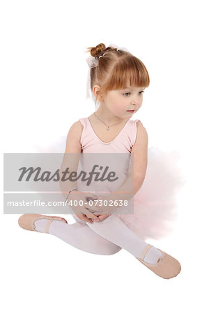 Toddler ballet girl in pink against white background Stock Photo - Budget Royalty-Free, Image code: 400-07302638