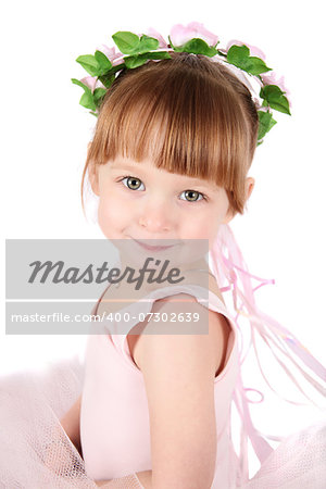 Toddler ballet girl in pink against white background Stock Photo - Budget Royalty-Free, Image code: 400-07302639