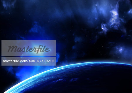 Space flare. A beautiful space scene with planets and nebula Stock Photo - Budget Royalty-Free, Image code: 400-07309218