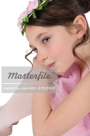 Brunette ballet girl against a white background wearing pink Stock Photo - Budget Royalty-Free, Image code: 400-07313959