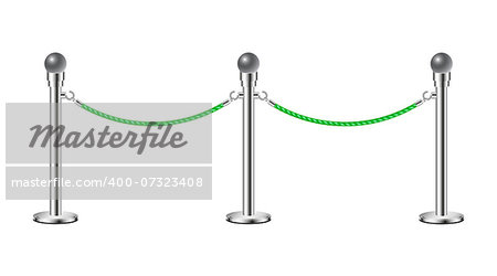 Stand rope barriers in silver design with green rope on white background Stock Photo - Budget Royalty-Free, Image code: 400-07323408
