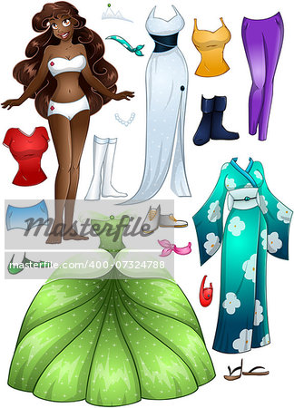 A vector illustration of an african girl template outfit and accessories dress up pack. Stock Photo - Budget Royalty-Free, Image code: 400-07324788