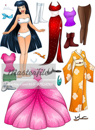 A vector illustration of an asian girl template outfit and accessories dress up pack. Stock Photo - Budget Royalty-Free, Image code: 400-07324789