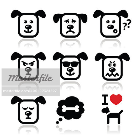 Vector icons set of cute dog charater expressing anger, happiness Stock Photo - Budget Royalty-Free, Image code: 400-07324827