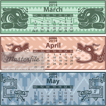 Vector of spring calendar 2014 with mayan ornaments Stock Photo - Budget Royalty-Free, Image code: 400-07326848